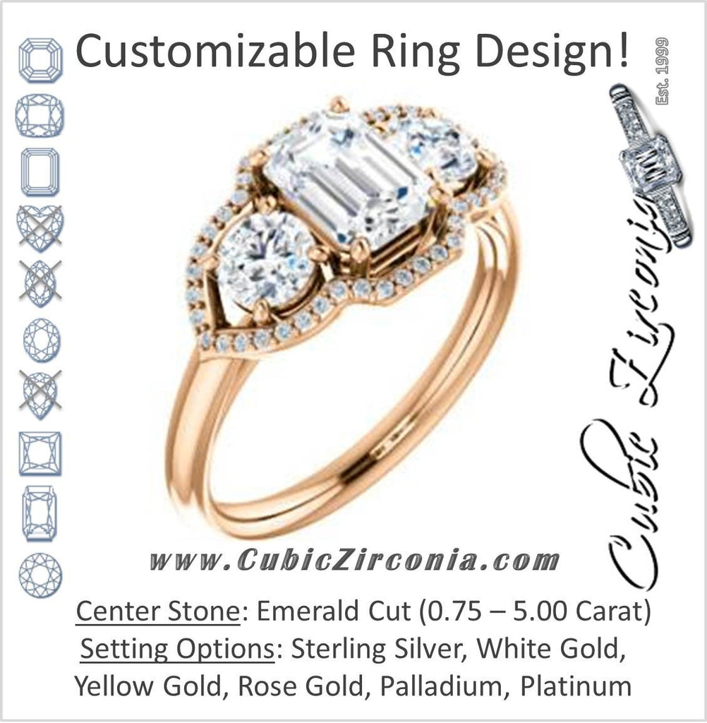 Cubic Zirconia Engagement Ring- The Camila (Customizable Emerald Cut Enhanced 3-stone Design with Halos)