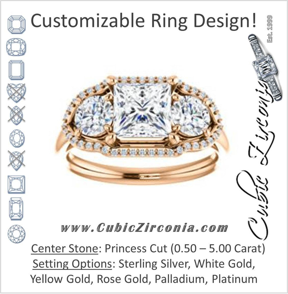 Cubic Zirconia Engagement Ring- The Camila (Customizable Princess Cut Enhanced 3-stone Design with Halos)