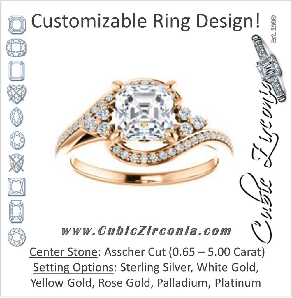 Cubic Zirconia Engagement Ring- The Candie (Customizable Asscher Cut with Artisan Bypass Pavé and 7-stone Cluster)