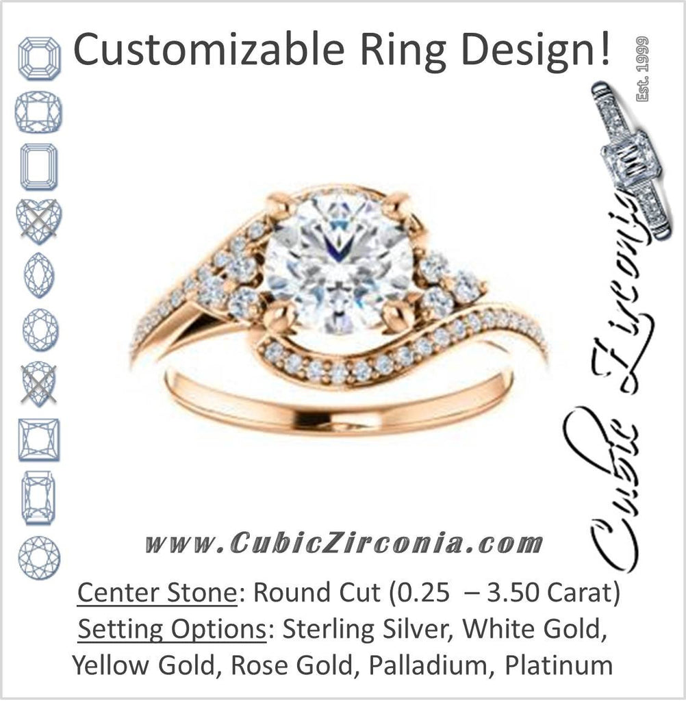 Cubic Zirconia Engagement Ring- The Candie (Customizable Round Cut with Artisan Bypass Pavé and 7-stone Cluster)