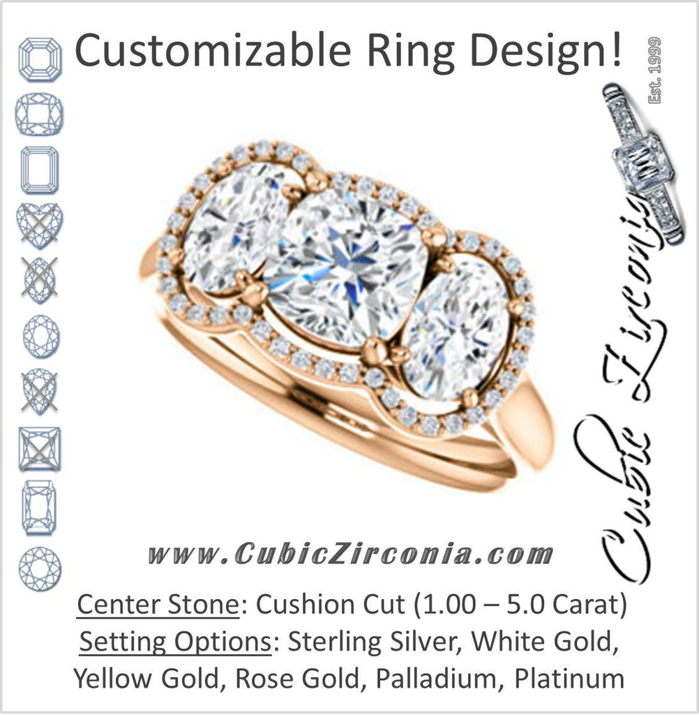 Cubic Zirconia Engagement Ring- The Carissa (Customizable Cushion Cut 3-stone Halo Style with Oval Accents)