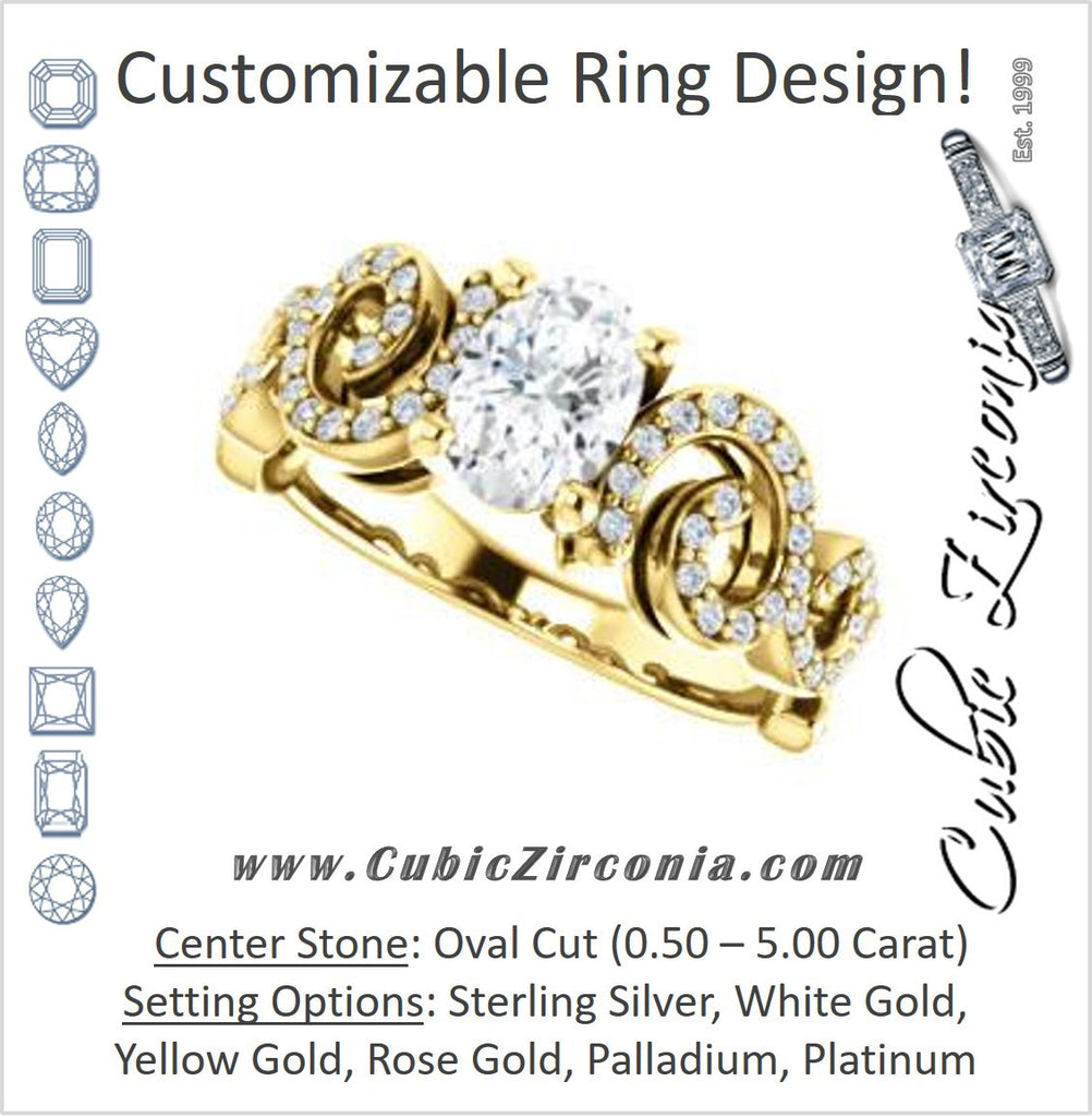 Cubic Zirconia Engagement Ring- The Carla (Customizable Oval Cut Split-Band Curves)