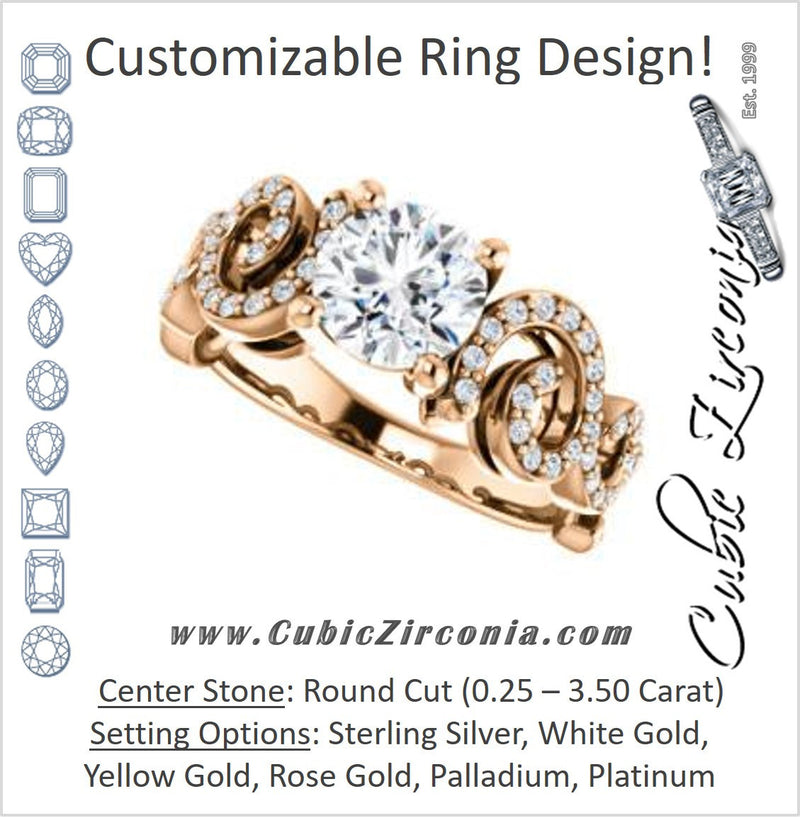 Cubic Zirconia Engagement Ring- The Carla (Customizable Round Cut Split-Band Curves)