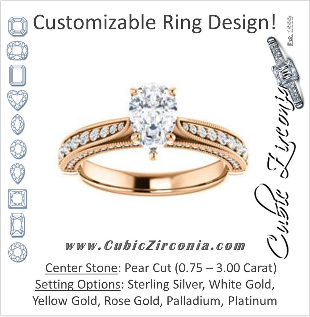 Cubic Zirconia Engagement Ring- The Claudia Jeanine (Customizable Pear Cut Three Sided Band)