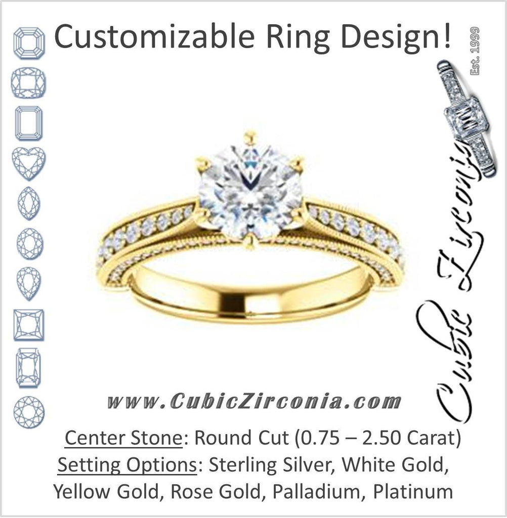Cubic Zirconia Engagement Ring- The Claudia Jeanine (Customizable Round Cut Three Sided Band)