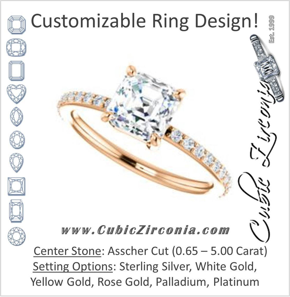 Cubic Zirconia Engagement Ring- The Delilah (Customizable Asscher Cut Petite Style with 3/4 Pavé  Band)