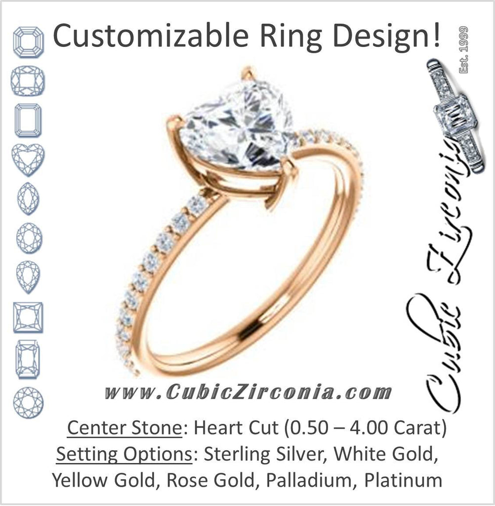 Cubic Zirconia Engagement Ring- The Delilah (Customizable Heart Cut Petite Style with 3/4 Pavé Band)