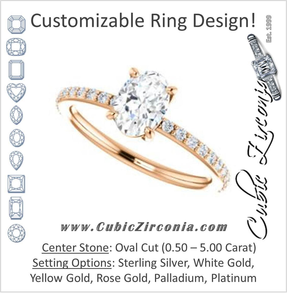 Cubic Zirconia Engagement Ring- The Delilah (Customizable Oval Cut Petite Style with 3/4 Pavé  Band)