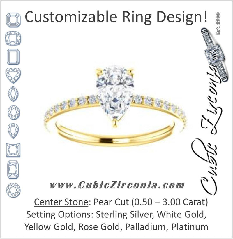 Cubic Zirconia Engagement Ring- The Delilah (Customizable Pear Cut Petite Style with 3/4 Pavé  Band)