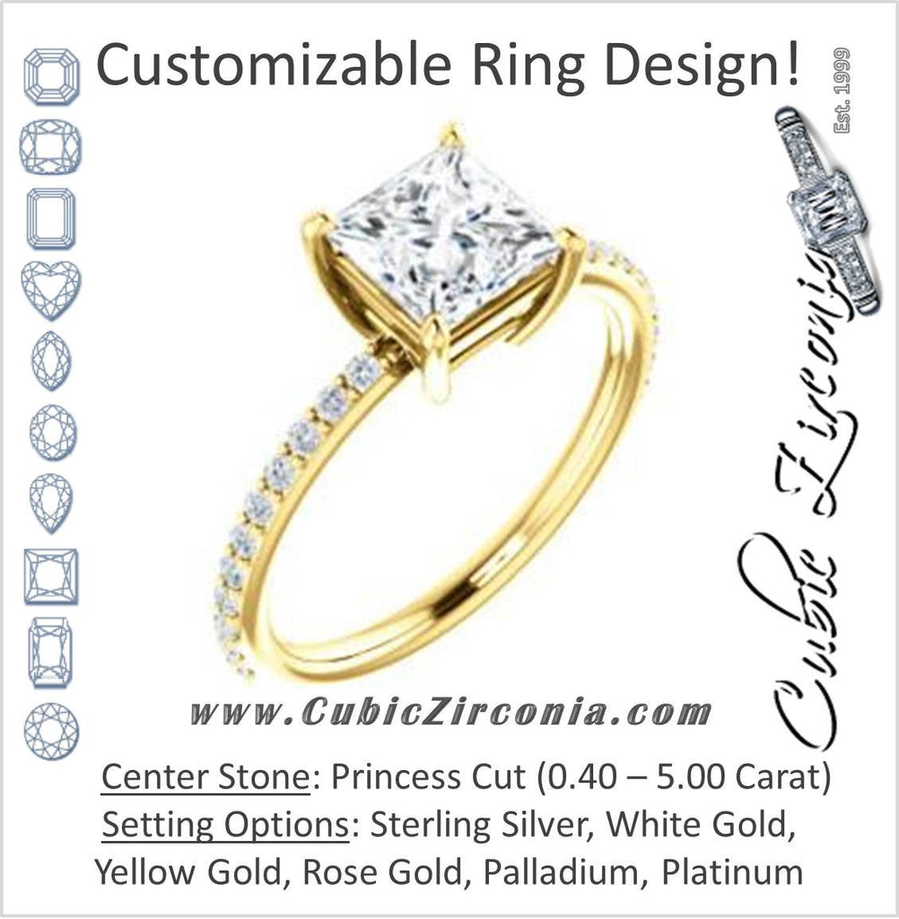Cubic Zirconia Engagement Ring- The Delilah (Customizable Princess Cut Petite Style with 3/4 Pavé  Band)