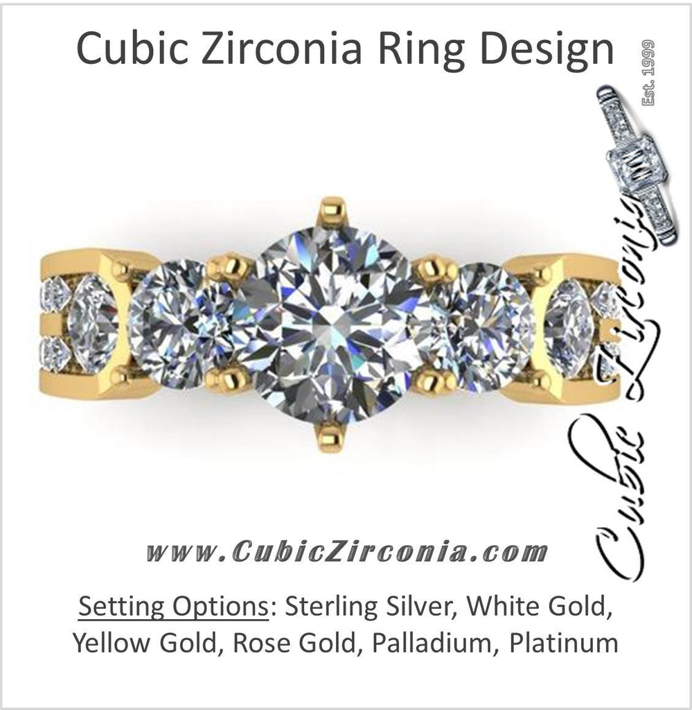 Cubic Zirconia Engagement Ring- The Emilienne (Five-Stone Round Cut Dual Channel)