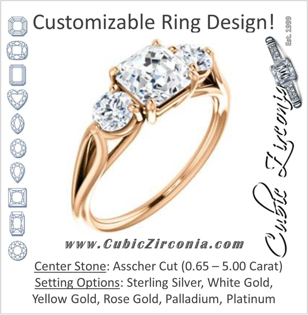 Cubic Zirconia Engagement Ring- The Estefi (Customizable Cathedral-set Asscher Cut 3-stone Design with Round Accents & Split Band)