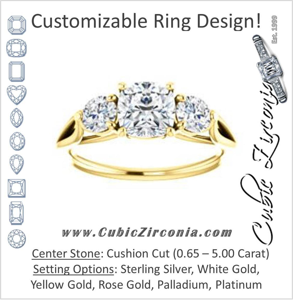 Cubic Zirconia Engagement Ring- The Estefi (Customizable Cathedral-set Cushion Cut 3-stone Design with Round Accents & Split Band)
