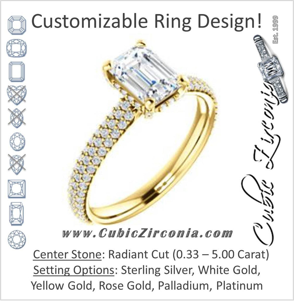 Cubic Zirconia Engagement Ring- The Fatima (Customizable Radiant Cut Center with Triple Pavé Band)
