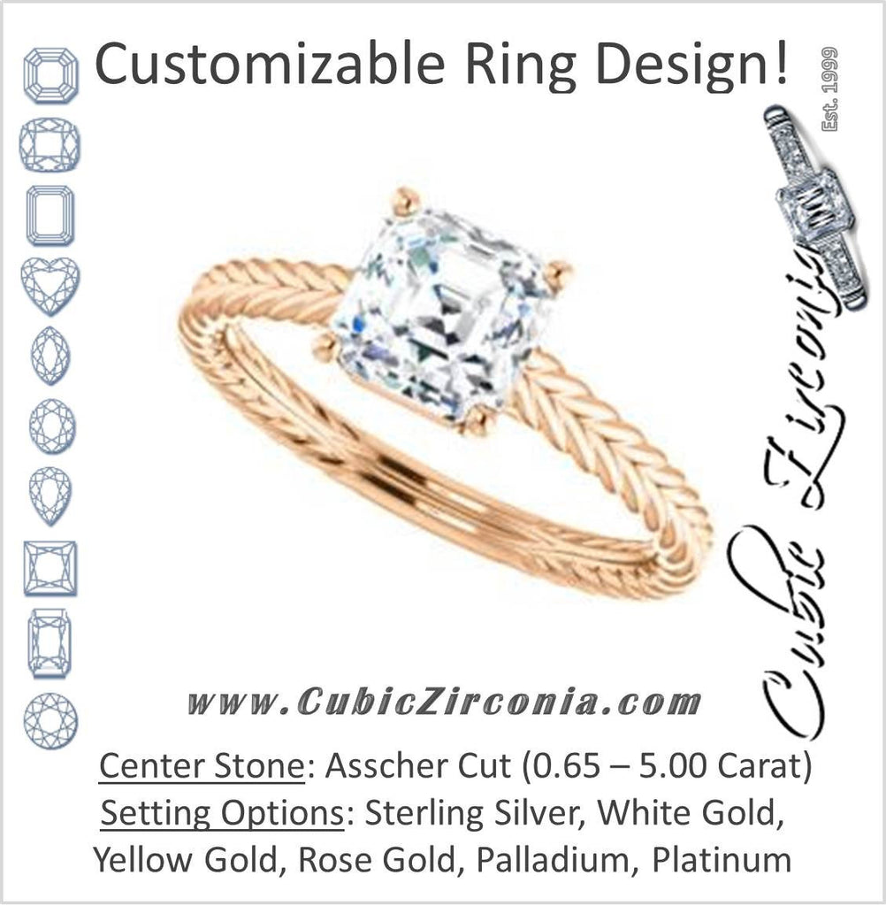 Cubic Zirconia Engagement Ring- The Florence (Customizable Cathedral-set Asscher Cut Solitaire with Vintage Braided Metal Band)