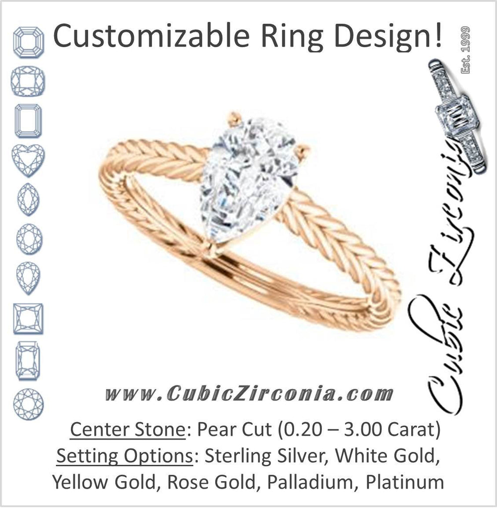 Cubic Zirconia Engagement Ring- The Florence (Customizable Cathedral-set Pear Cut Solitaire with Vintage Braided Metal Band)