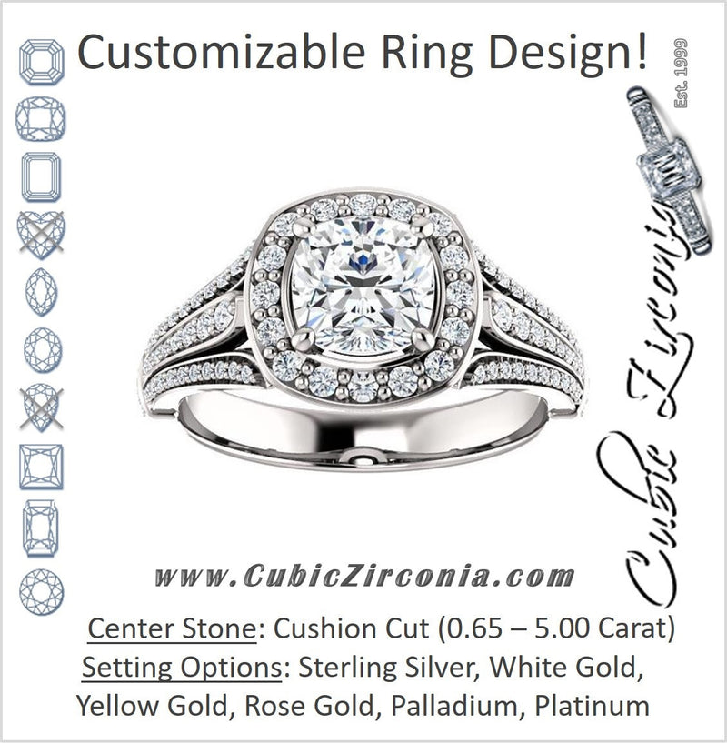 Cubic Zirconia Engagement Ring- The Frannie (Customizable Cushion Cut Style with Halo and Tri-Split Pavé Band)