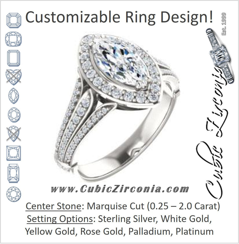 Cubic Zirconia Engagement Ring- The Frannie (Customizable Marquise Cut Style with Halo and Tri-Split Pavé Band)