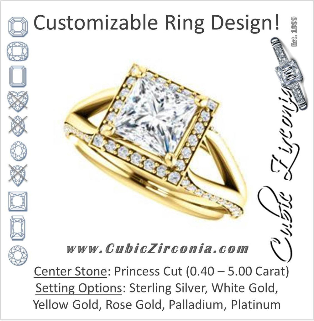 Cubic Zirconia Engagement Ring- The Gabrielle Mia (Customizable Princess Cut Design with Halo & Accented Three-sided Wide Split Band)