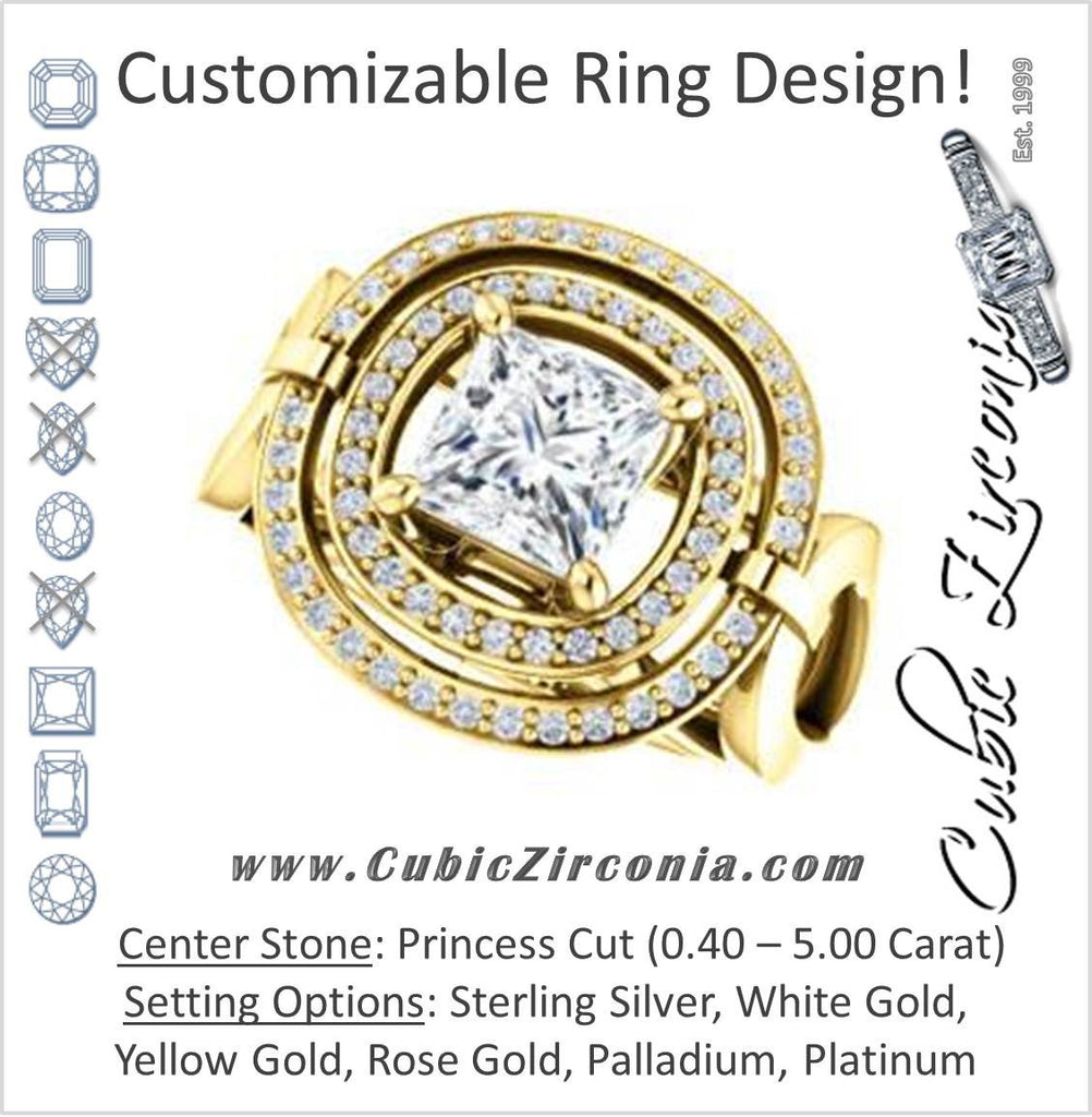 Cubic Zirconia Engagement Ring- The Gayatri (Customizable Cathedral Princess Cut Design with Double Halo and Wide Horseshoe-inspired Split Band)