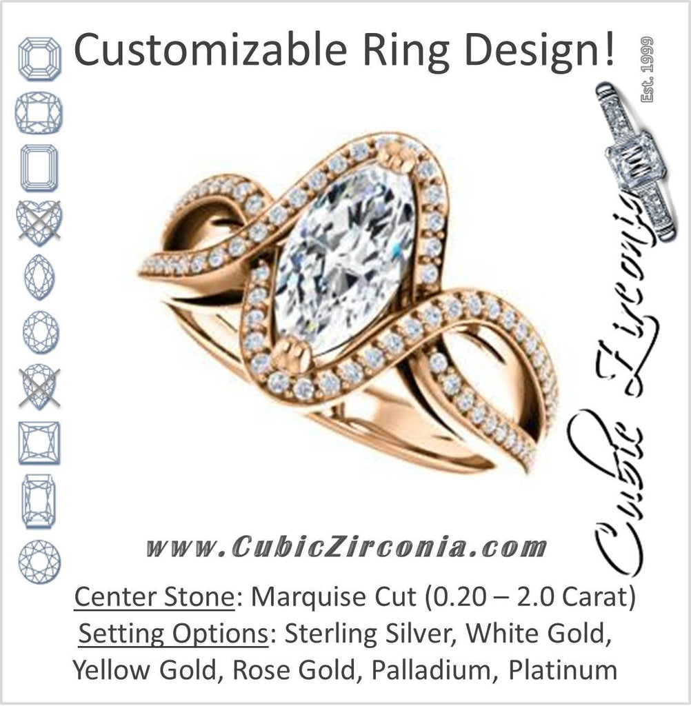 Cubic Zirconia Engagement Ring- The Goldie (Customizable Marquise Cut Center with Twisty Split-Pavé Band and Artisan Halo)