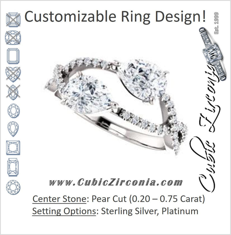 Cubic Zirconia Engagement Ring- The Harleigh (Customizable 2-stone Pear Cut Artisan Style With Twisting Split-Pavé Band)