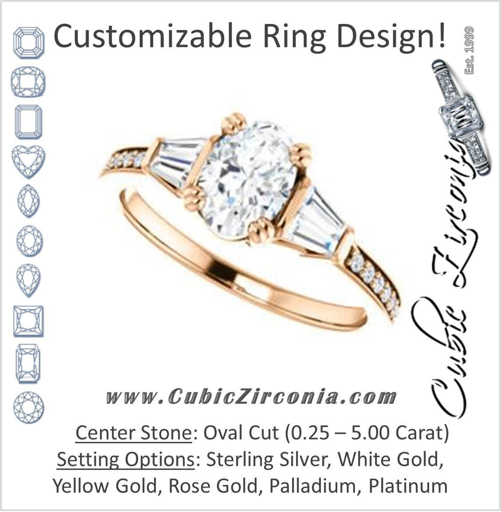 Cubic Zirconia Engagement Ring- The Hazel Rae (Customizable Oval Cut Design with Quad Baguette Accents and Pavé Band)