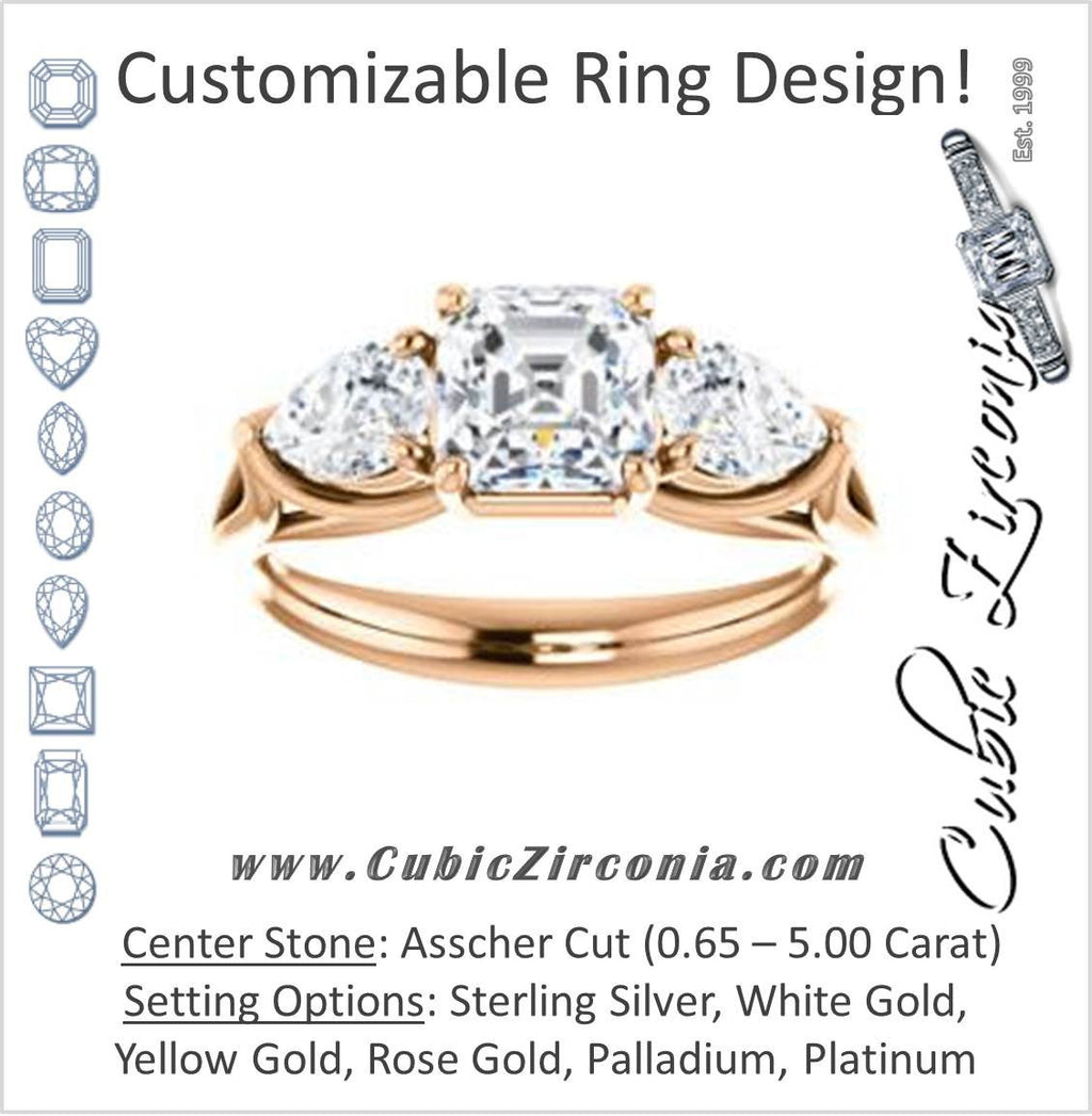 Cubic Zirconia Engagement Ring- The Ila (Customizable 3-stone Design with Asscher Cut Center, Pear Accents and Split Band)
