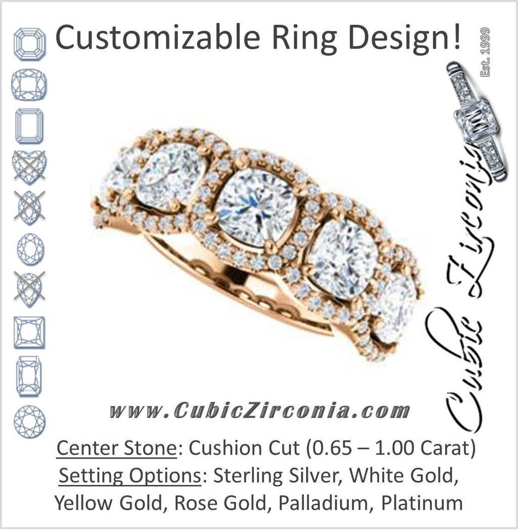 Cubic Zirconia Engagement Ring- The Isla (Customizable Cushion Cut 5-stone + Multi-Halo Style)
