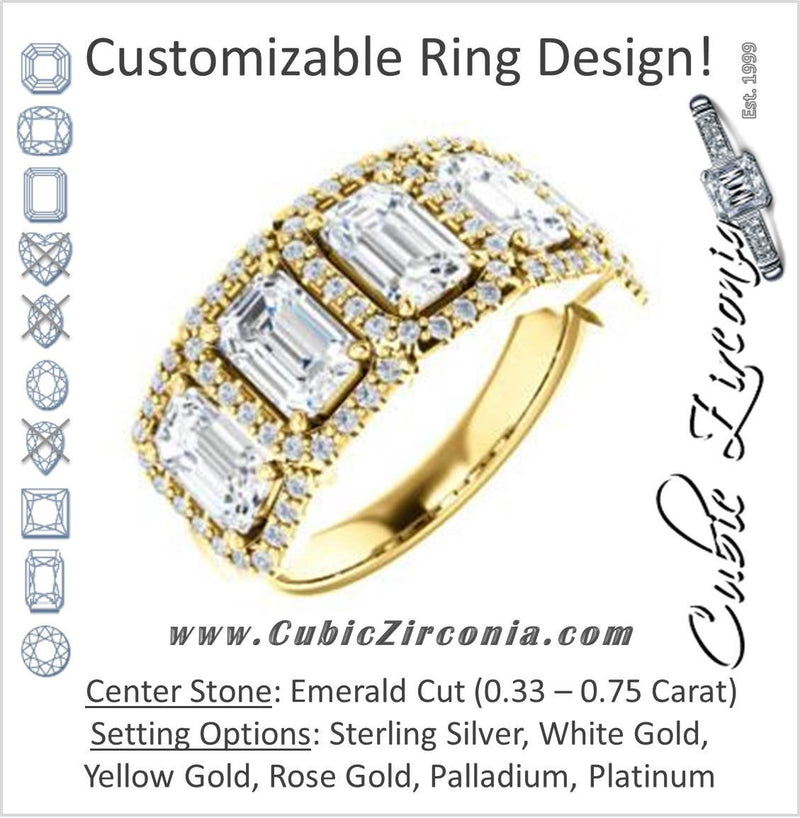 Cubic Zirconia Engagement Ring- The Isla (Customizable Emerald Cut 5-stone + Multi-Halo Style)