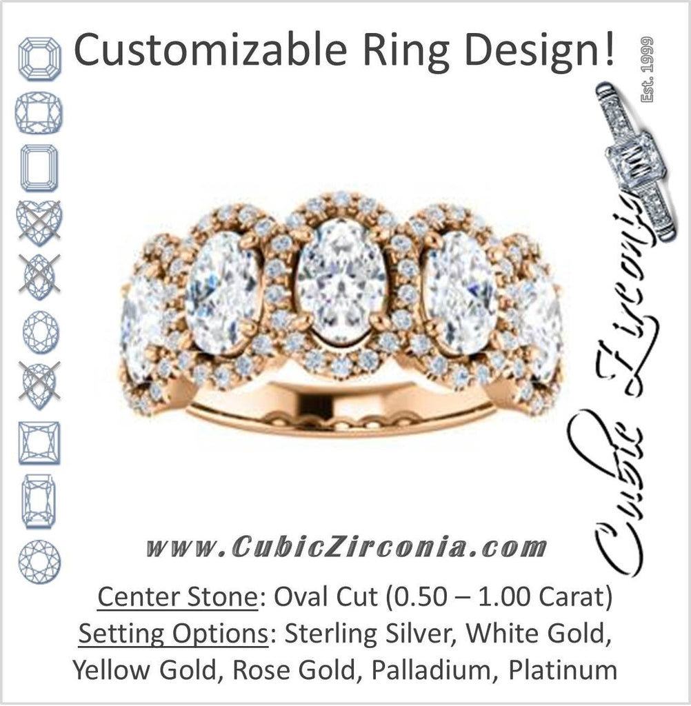 Cubic Zirconia Engagement Ring- The Isla (Customizable Oval Cut 5-stone + Multi-Halo Style)