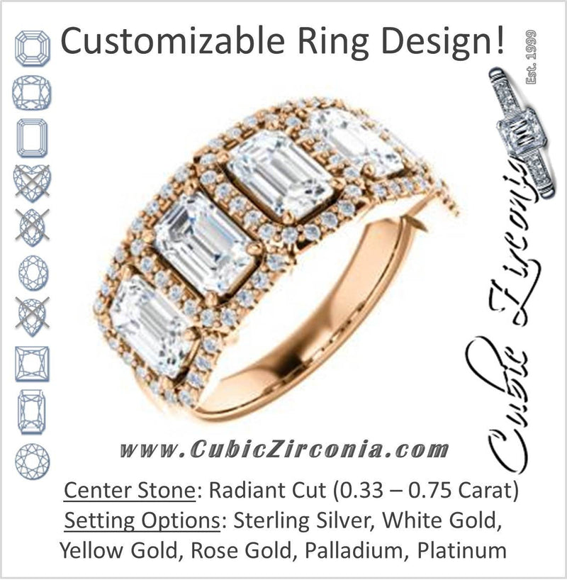 Cubic Zirconia Engagement Ring- The Isla (Customizable Radiant Cut 5-stone + Multi-Halo Style)