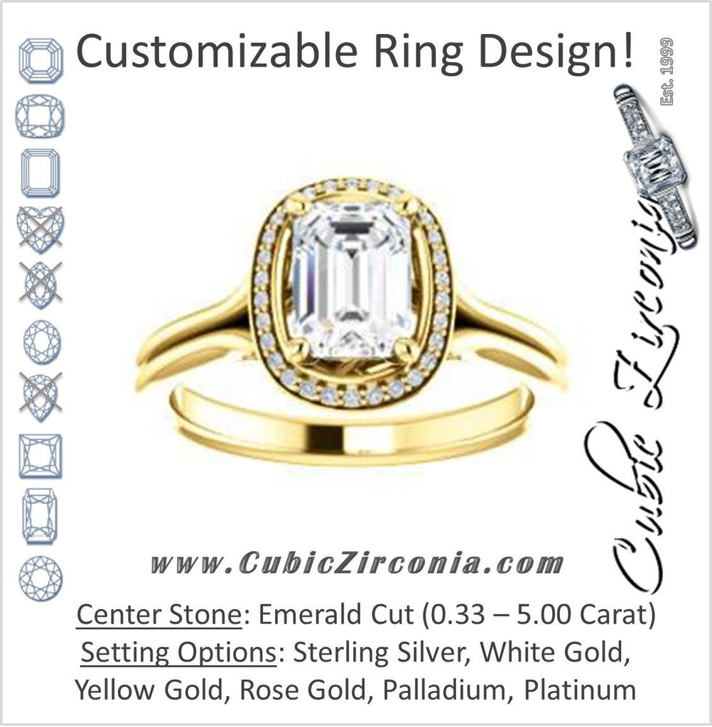 Cubic Zirconia Engagement Ring- The Jaci (Customizable Cathedral-set Emerald Cut Design with Split-Band and Halo Accents)