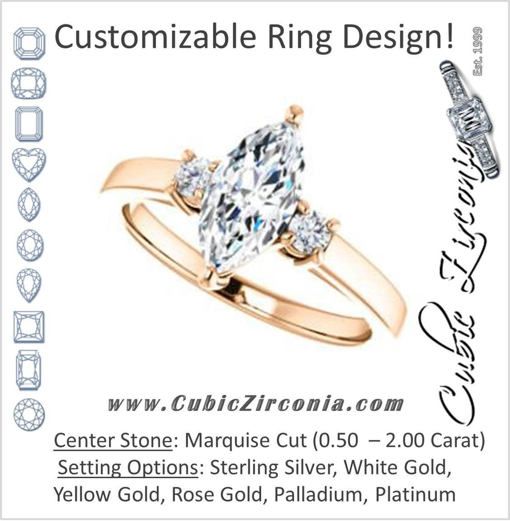 Cubic Zirconia Engagement Ring- The Jacqueline (Customizable Marquise Cut 3-stone with Thin Band and Dual Round Prong Accents)