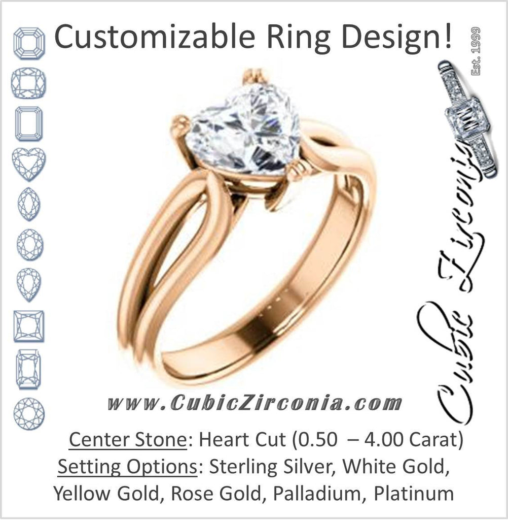 Cubic Zirconia Engagement Ring- The Jan (Customizable Heart Cut Thick-Split Band Solitaire)