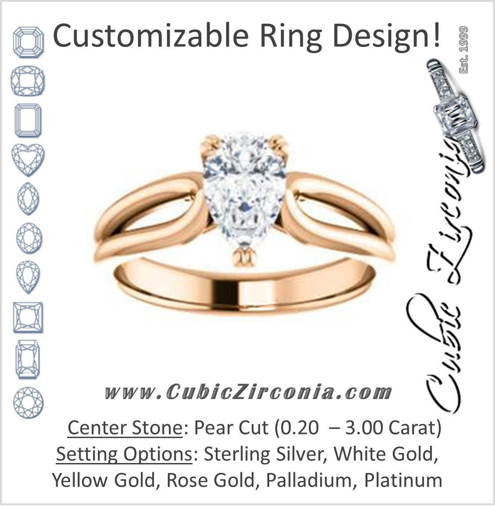 Cubic Zirconia Engagement Ring- The Jan (Customizable Pear Cut Thick-Split Band Solitaire)