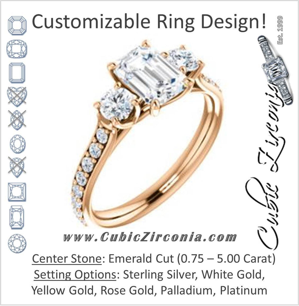 Cubic Zirconia Engagement Ring- The Janni (Customizable Enhanced 3-stone Emerald Cut Design with Round Accents)
