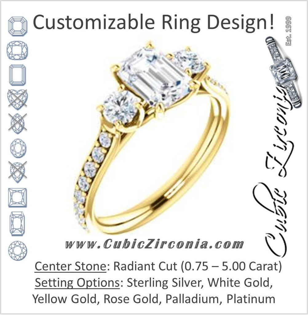 Cubic Zirconia Engagement Ring- The Janni (Customizable Enhanced 3-stone Radiant Cut Design with Round Accents)