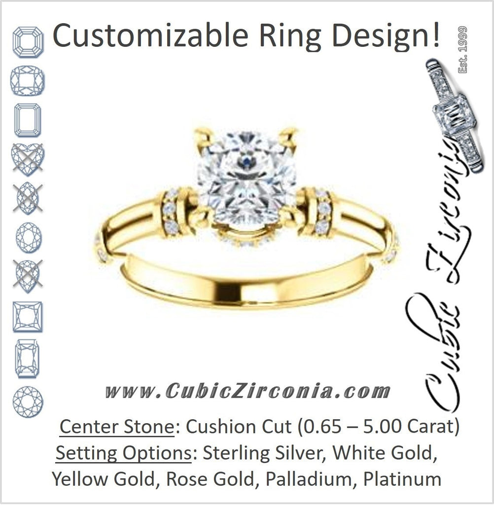 Cubic Zirconia Engagement Ring- The Jayla (Customizable Cushion Cut Style with Under-Halo & Horizontal Band Accents)