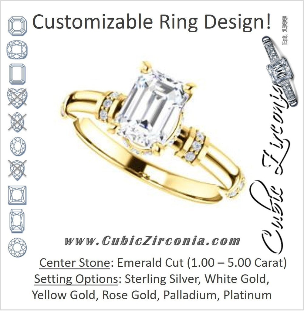 Cubic Zirconia Engagement Ring- The Jayla (Customizable Emerald Cut Style with Under-Halo & Horizontal Band Accents)