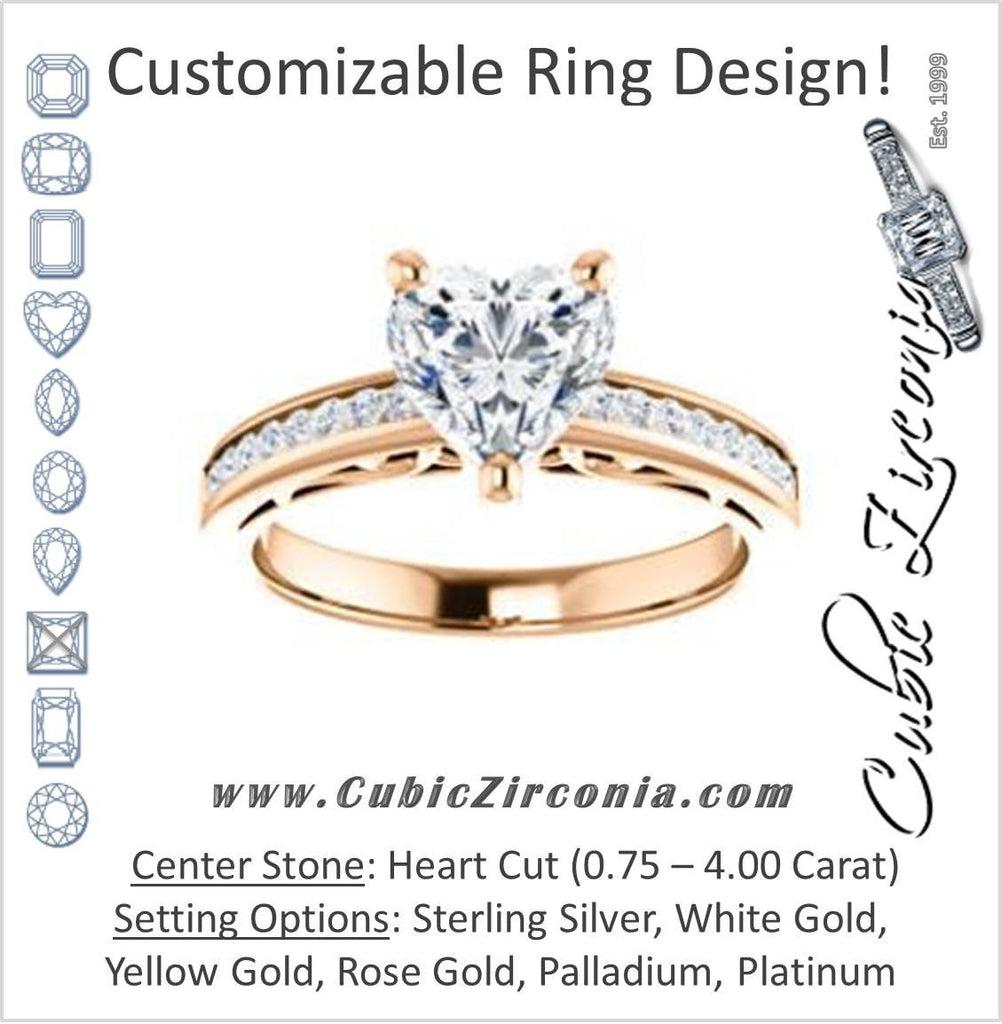 Cubic Zirconia Engagement Ring- The Jazmin Ella (Customizable Heart Cut with Three-sided Filigree and Channel Accents)