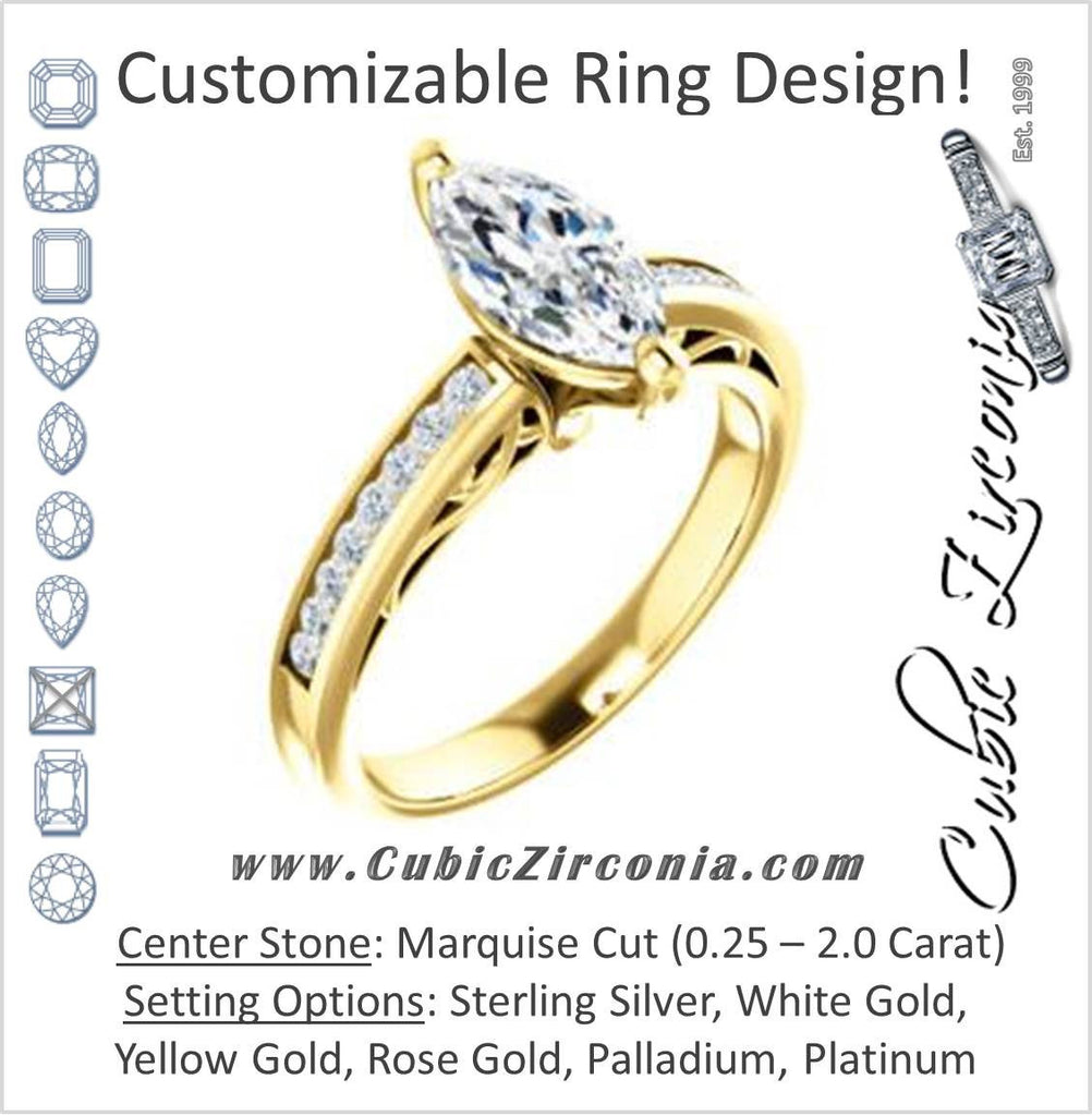 Cubic Zirconia Engagement Ring- The Jazmin Ella (Customizable Marquise Cut with Three-sided Filigree and Channel Accents)