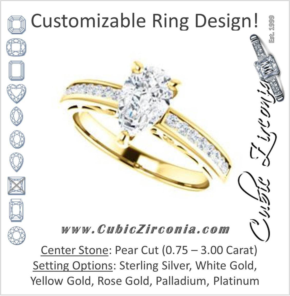 Cubic Zirconia Engagement Ring- The Jazmin Ella (Customizable Pear Cut with Three-sided Filigree and Channel Accents)