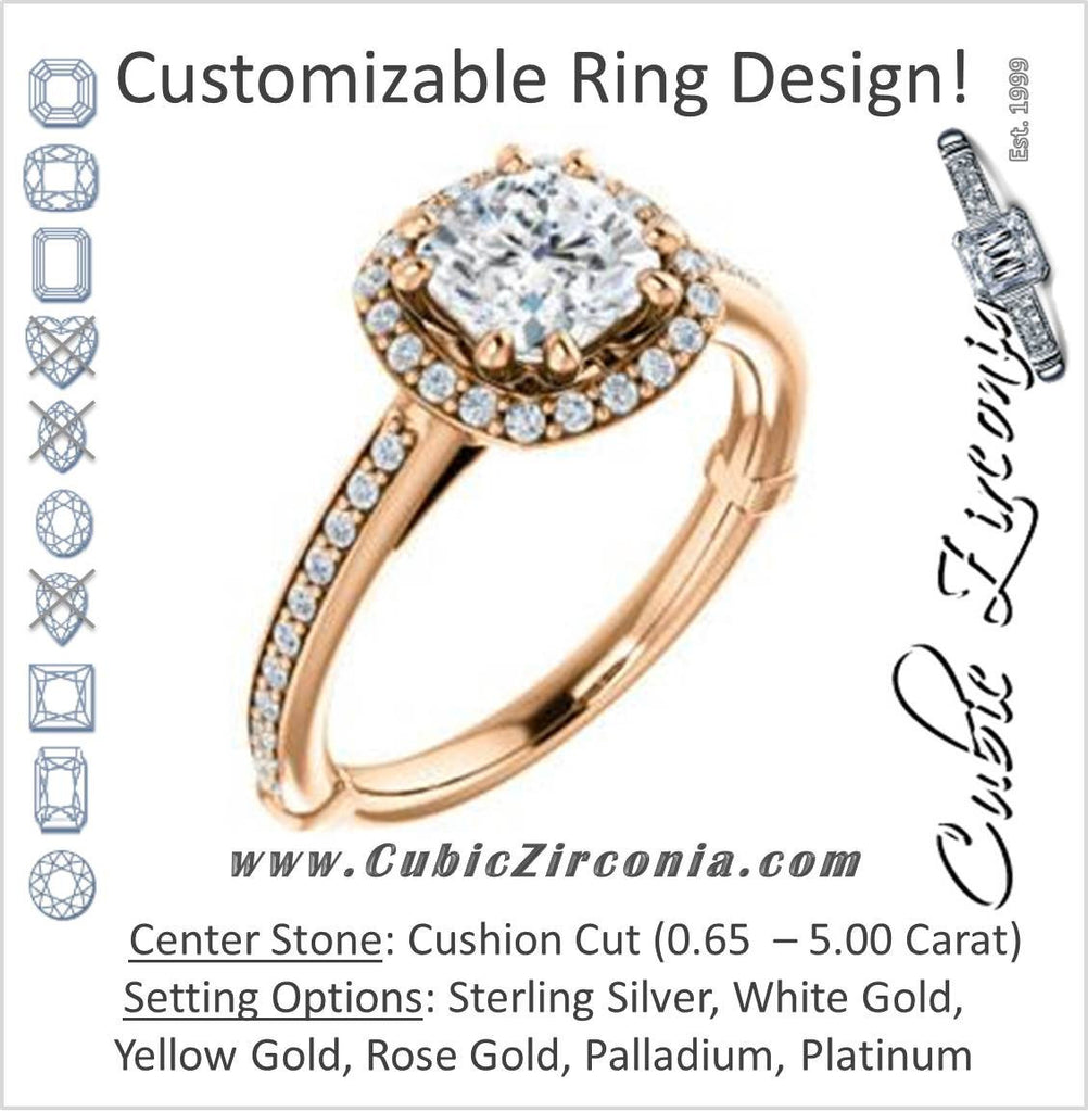 Cubic Zirconia Engagement Ring- The Jessika (Customizable Cathedral-set Cushion Cut Design with Halo and Thin Pavé Band)