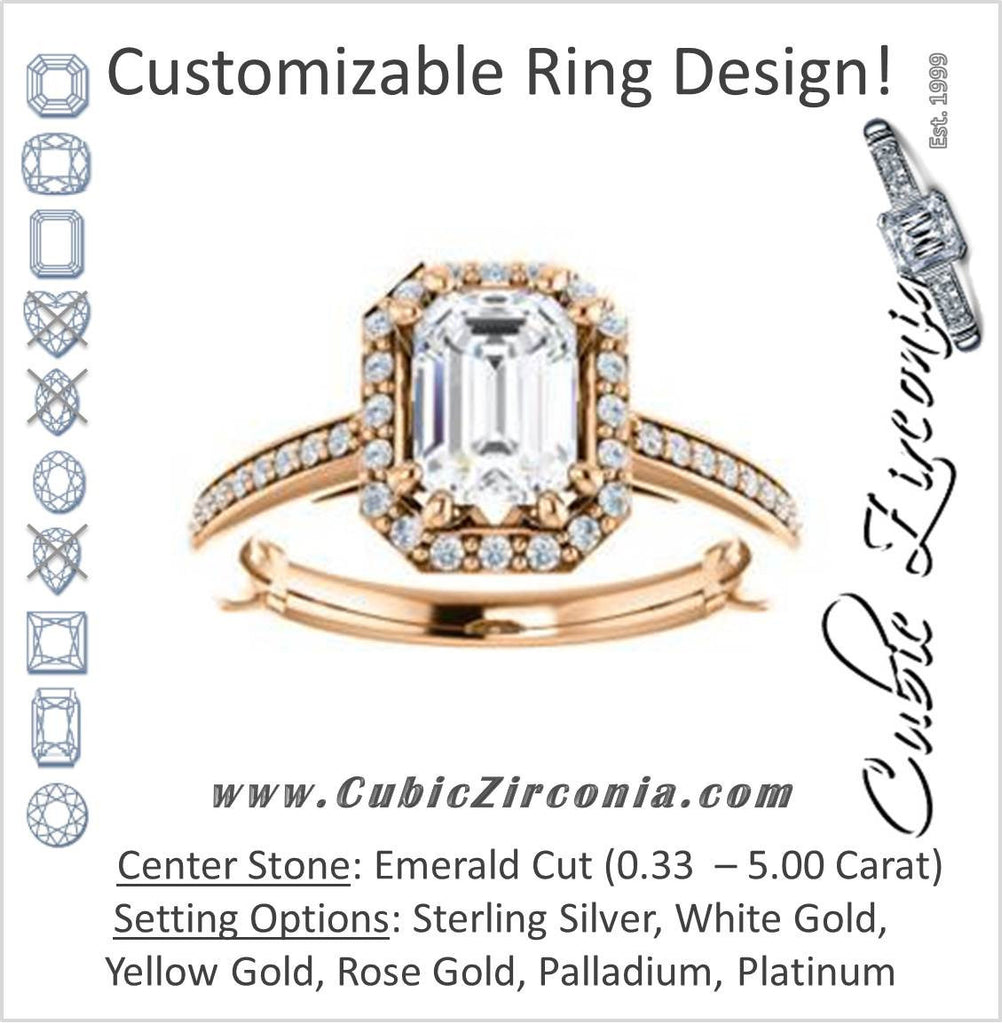 Cubic Zirconia Engagement Ring- The Jessika (Customizable Cathedral-set Emerald Cut Design with Halo and Thin Pavé Band)