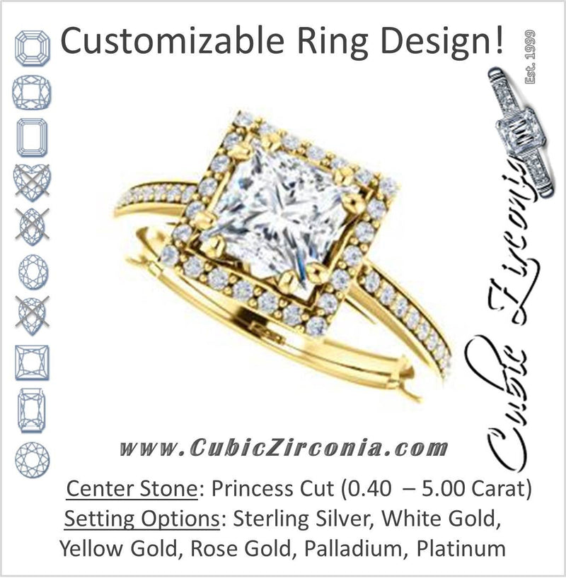 Cubic Zirconia Engagement Ring- The Jessika (Customizable Cathedral-set Princess Cut Design with Halo and Thin Pavé Band)