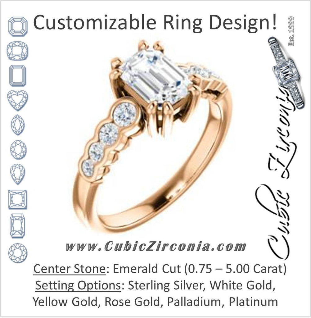 Cubic Zirconia Engagement Ring- The Jhenny (Customizable Emerald Cut 9-Stone Design with Round Bezel Accents)