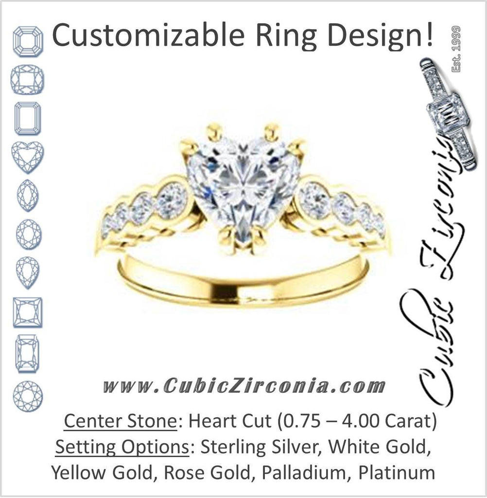Cubic Zirconia Engagement Ring- The Jhenny (Customizable Heart Cut 9-Stone Design with Round Bezel Accents)