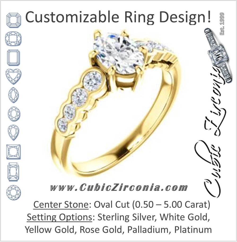 Cubic Zirconia Engagement Ring- The Jhenny (Customizable Oval Cut 9-Stone Design with Round Bezel Accents)