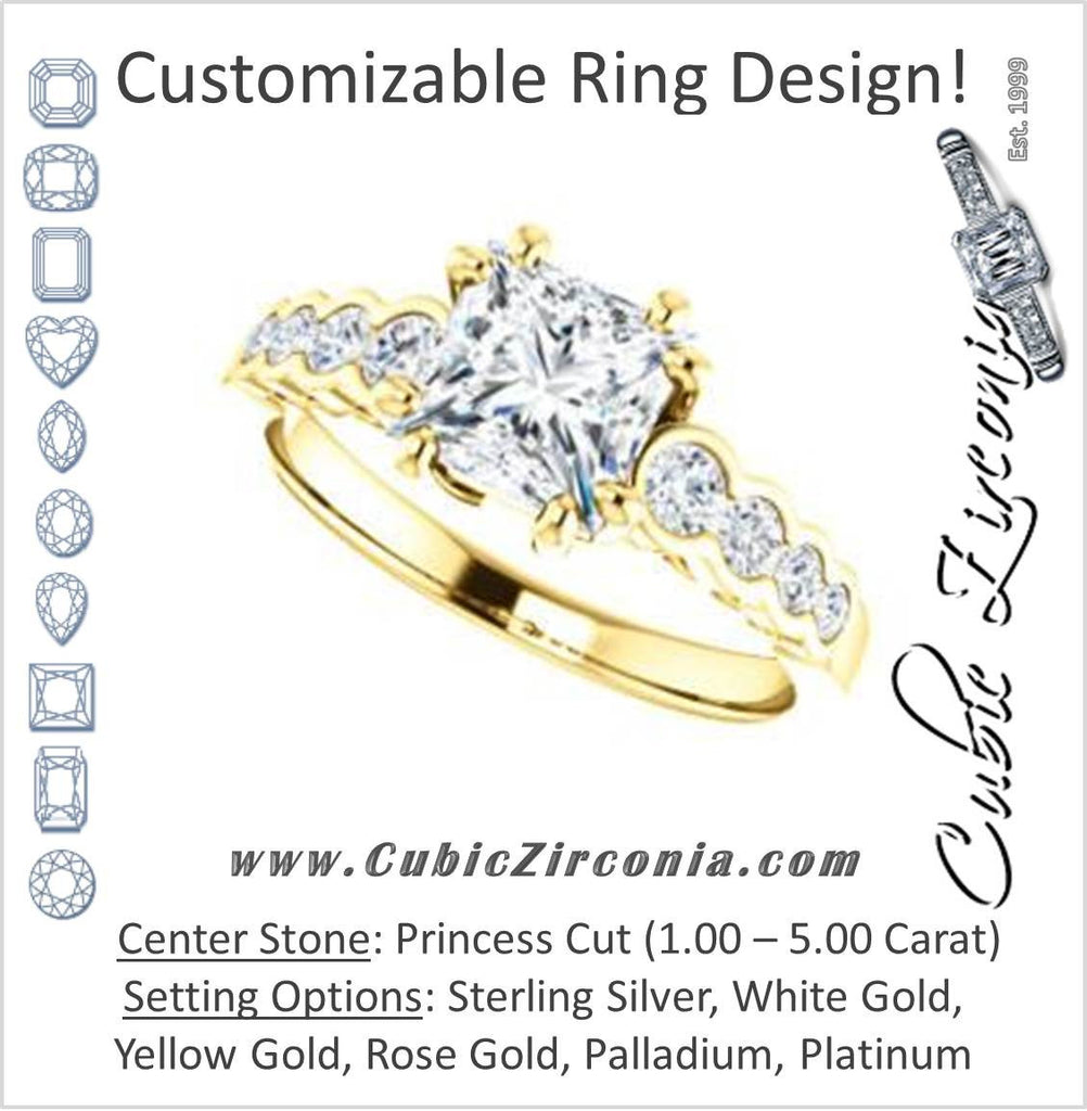 Cubic Zirconia Engagement Ring- The Jhenny (Customizable Princess Cut 9-Stone Design with Round Bezel Accents)